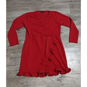Pretty Little Thing Red Ruffle Detail Wrap Dress